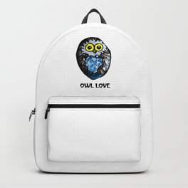 Owl Love Rock Painting on River Rock by annmariescreations Backpack