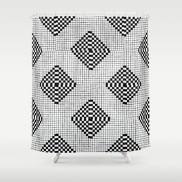Black & White Grid Tile Pattern Shower Curtain