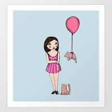 The cat balloon Art Print
