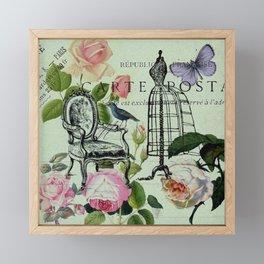 botanical butterfly garden roses french mannequin fashion paris Framed Mini Art Print