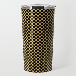 Black and Spicy Mustard Polka Dots Travel Mug