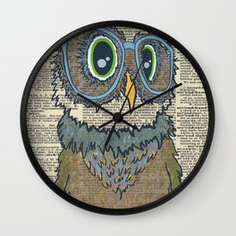 Owl wearing glasses Wall Clock