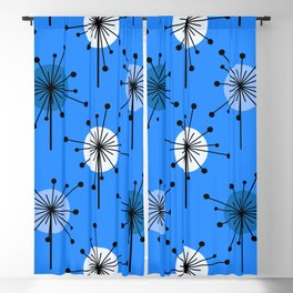 Atomic Era Sputnik Starburst Flowers Blue Blackout Curtain