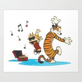 calvin and hobbes dancing with music Art Print