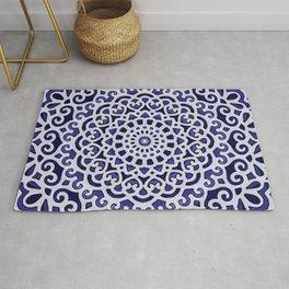 16 Fold Mandala in Blue Rug