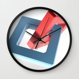 Abstract chain on white background - 3D rendering Wall Clock
