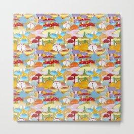 Colorful Mushrooms Metal Print