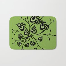 Abstract Floral With Pointy Leaves In Black And Greenery Bath Mat