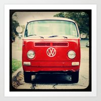 vw bus Art Prints featuring Red VW Bus by Anna Dykema Photography