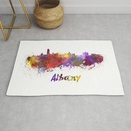 Albany skyline in watercolor Rug