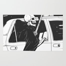 Passenger taxi grim - black and white - gothic reaper Rug