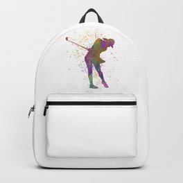 Female golf player competing in watercolor 01 Backpack
