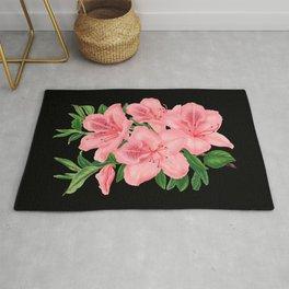 Vintage Victorian Pink Flowers on Black Rug