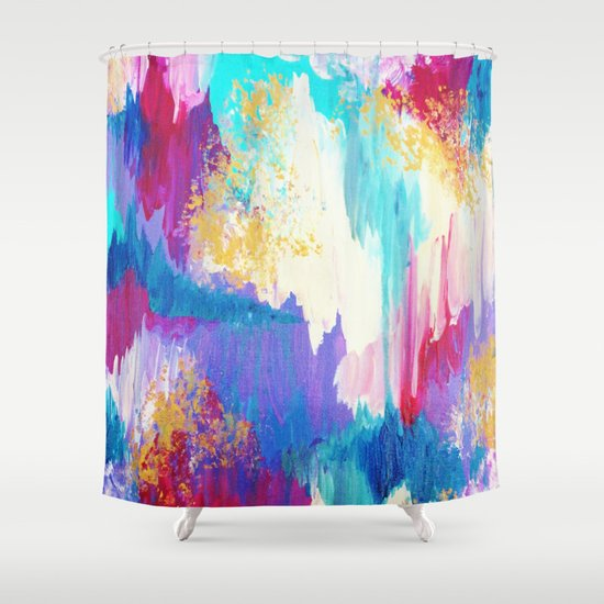 SWEET DREAMS - Lovely Bright Soft Pastel Modern Abstract Fun Nursery Ombre Design Acrylic Painting Shower Curtain