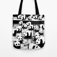 animal crew Tote Bags featuring Crew by Panda Cool
