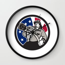 American Fireman USA Flag Icon Wall Clock