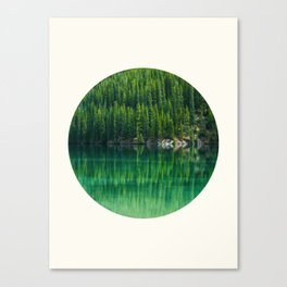 Mid Century Modern Round Circle Photo Graphic Design Reflective Green Pine Forest Lake Canvas Print