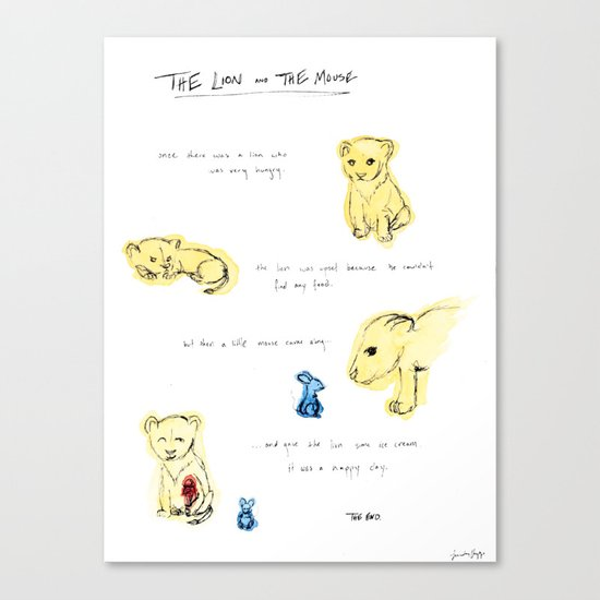 the lion  and the mouse. Canvas Print