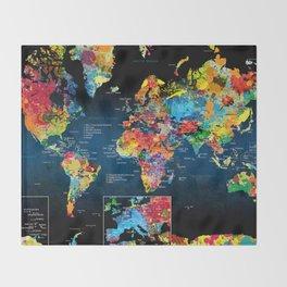 World Map Black - 2 Throw Blanket