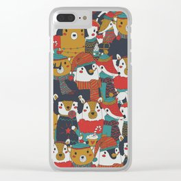 Funky Retro Christmas Animals Clear iPhone Case