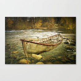 Canoe on the Thornapple River in Autumn Canvas Print