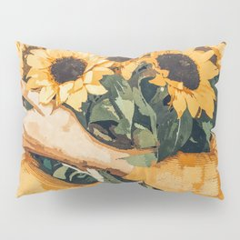 Holding Sunflowers #society6 #illustration #nature #painting Pillow Sham