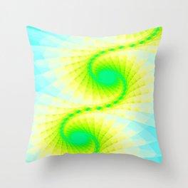 Fractal Blue Sky Gold Design Throw Pillow