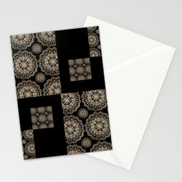 Black and Rose-Gold Floral Mandala Patch-Work Textile Stationery Cards