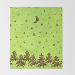 Sparkly Christmas tree, stars on abstract green paper Throw Blanket