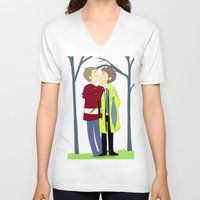 destiel V-neck T-shirts featuring kissukissu by oh, wolves