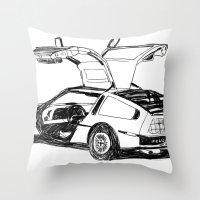 delorean Throw Pillows featuring DELOREAN by carolin walch
