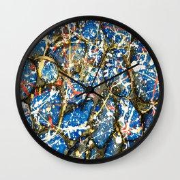 Blue Paint Drip Pollock Stones Wall Clock
