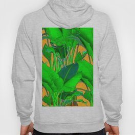 BRIGHT GREEN & GOLD TROPICAL FOLIAGE ART Hoody