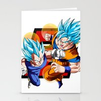 dbz Stationery Cards featuring DBZ - Vegeta & Goku SSJ God II by Mr. Stonebanks