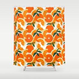Orange Harvest - White Shower Curtain