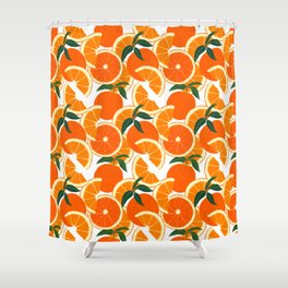 Orange Harvest - White Shower Curtain