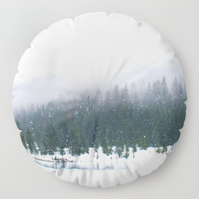 Evergreen Winter Forest (Color) Floor Pillow