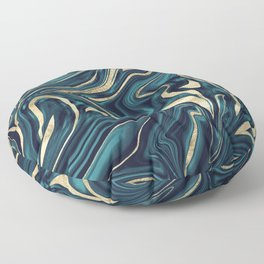 Teal Navy Blue Gold Marble #1 #decor #art #society6 Floor Pillow