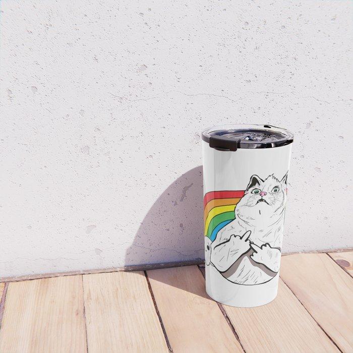 Fluff Off Rainbow Cat Travel Mug