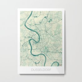 Dusseldorf Map Blue Vintage Metal Print
