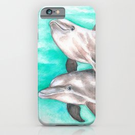 Dolphins Teal Watercolor iPhone Case