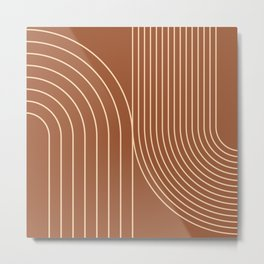 Geometric Lines in Terracotta and Beige 74 (Rainbow and Arch Abstract) Metal Print