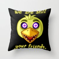 fnaf Throw Pillows featuring FNAF Chica by Bloo McDoodle