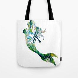 Green Fluid Acrylic Mermaid - Fantasy Abstract Art Tote Bag