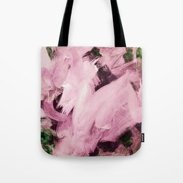 Red Violet on green hues Tote Bag