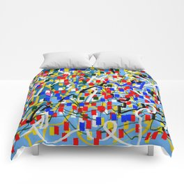 Abstract multicolor blue Comforters