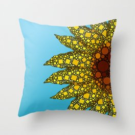 Sunflower in Abstract Form - Flower field - Autumn and summer collide - 57 Montgomery Ave Throw Pillow