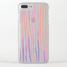 Vertical watercolor lines - pink and ultraviolet Clear iPhone Case