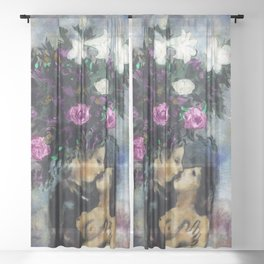 Lovers Under Calla Lilies & Flowers floral portrait painting by Marc Chagall Sheer Curtain