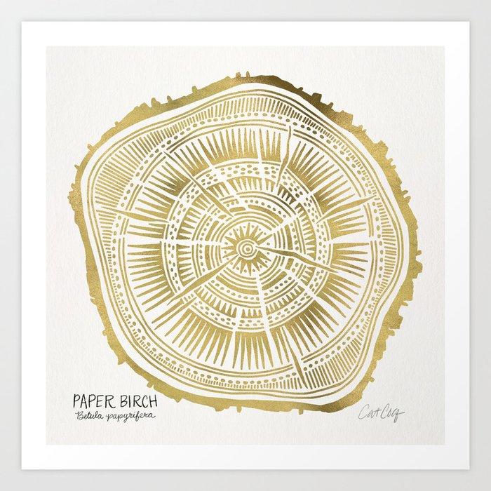 Paper Birch Gold Tree Rings Art Print By Catcoq Society6